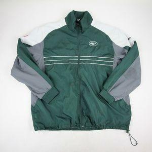 NY Jets NFL Team Rain Jacket XL Reebok Green Gray